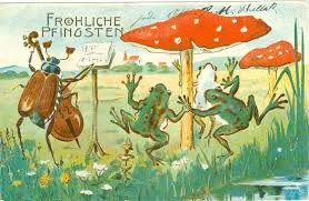 Vintage May Day frogs